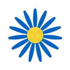 Naplotík Kopretina na plot - modrá se žlutým středem s tváří