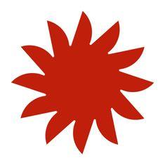 Naplotík Slunce na plot - červené s červeným středem