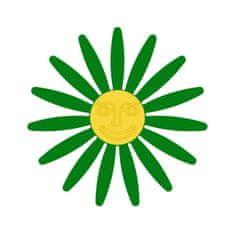 Naplotík Kopretina na plot - zelená se žlutým středem s tváří