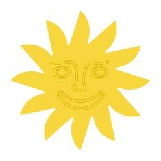 Naplotík Slunce na plot - žluté se žlutým středem s tváří