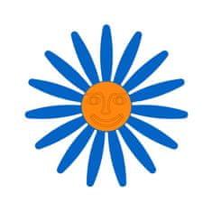 Naplotík Kopretina na plot - modrá s oranžovým středem s tváří