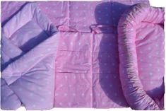 KHC Výhodný Růžový set 4ks Hnízdečko pro miminko+Zavinovačka+Mantinel do postýlky+Kapsář na postýlku