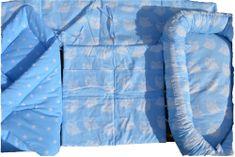 KHC Výhodný Modrý set 4ks Hnízdečko pro miminko+Zavinovačka+Mantinel do postýlky+Kapsář na postýlku