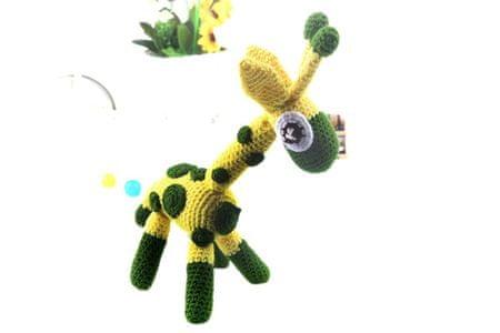 Kraftika Sárga zöld fehér fekete zsiráf játék horgolt akasztott