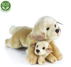 Rappa Plüsslabrador kiskutyával, fekvő, 25 cm, ECO-FRIENDLY