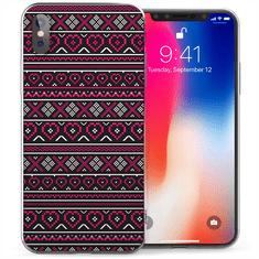 Caseflex Aztec Hearts gumené púzdro pre iPhone X/XS, ružové/čierne