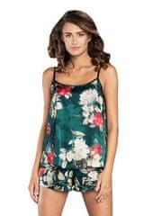 ITALIAN FASHION Saténové pyžamo Kreta zelené s květy