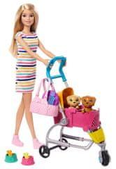 Mattel Barbie Bábika na prechádzke s psíkom