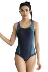 Self Zeštíhlující jednodílné plavky Aimee modré pruhy