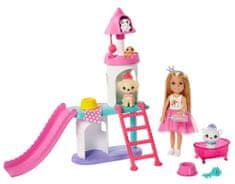 Mattel Barbie Princess Adventure Princezná Chelsea Herný set so šmýkačkou