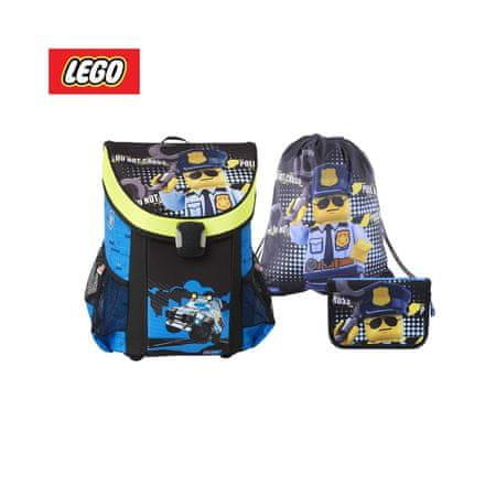 LEGO Ninjago City Police Cop set 3 v 1, šolski nahrbtnik + peresnica, polna + vreča za čevlje