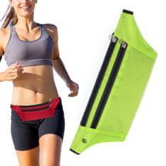 MG Ultimate Running Belt bežecký opasok s otvorom pre slúchadlá, zelený