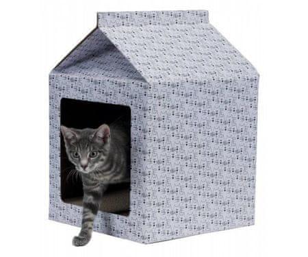 Trixie Skrobak kartonowy domek 34x48x34cm biały, łóżka, poduszki