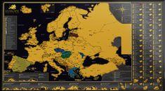World Maps Europe Black&Gold nástenná stieracia mapa európy 59,4x84cm (A1)