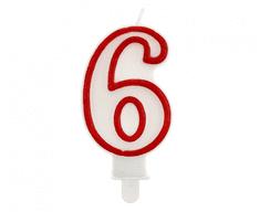 GoDan Tortová sviečka číslo 6 - červená