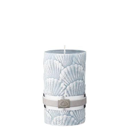 Lene Bjerre Dekoratív gyertya kagyló díszítéssel, világoskék, M méret, 65 órán át ég