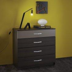 IDEA nábytok Komoda 4 zásuvky GRAPHIC tmavý dub/sivá