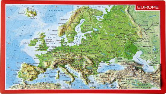 World Maps Európa reliéfna 3D mapka 10,5x14,8cm