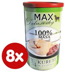 FALCO MAX Deluxe konzerve za odrasle pse, 3/4 piletina s divljači, 8x 1200 g