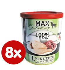 FALCO MAX Deluxe konzerve za odrasle pse, 1/2 piletina s divljači, 8x 800 g