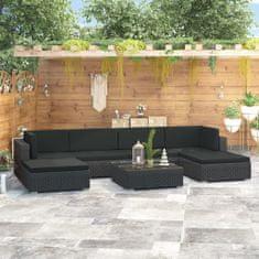 shumee 7-cz. zestaw wypoczynkowy do ogrodu, poduszki, rattan PE czarny