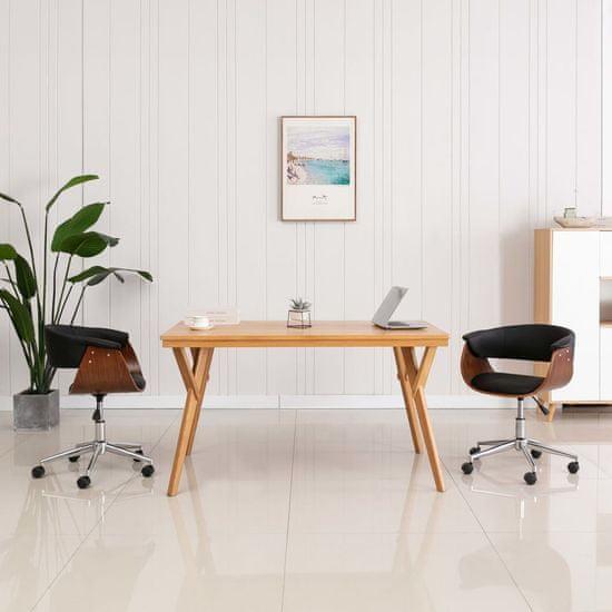 shumee Otočná kancelářská židle černá ohýbané dřevo a umělá kůže