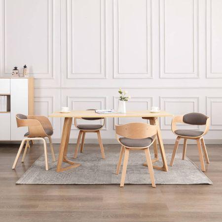 shumee Jedilni stoli 4 kosi ukrivljen les in taupe blago