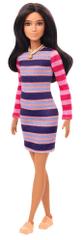 Mattel Barbie Modelka 147 - Sukienka w paski z długimi rękawami
