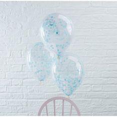 BALÓNIKY latexové s modrými konfetami - 6 ks - 30cm