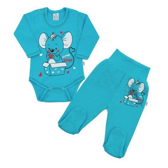 NEW BABY Dojčenská súpravička New Baby Mouse tyrkysová 80 (9-12m) Tyrkysová