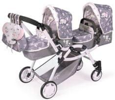 DeCuevas składany wózek dla lalek - bliźniąt 80335 3 w 1 z plecakiem