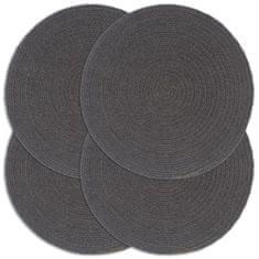 Prostírání 4 ks tmavě šedé 38 cm kulaté bavlna