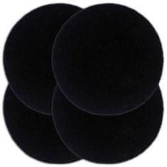 Prostírání 4 ks černé 38 cm kulaté bavlna