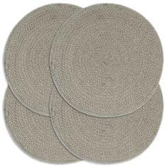 Prostírání 4 ks šedé 38 cm kulaté bavlna