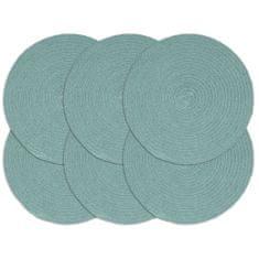 Prostírání 6 ks zelené 38 cm kulaté bavlna