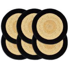 Prostírání 6 ks přírodní a černé 38 cm juta a bavlna