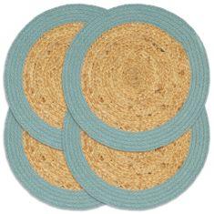 Prostírání 4 ks přírodní a zelené 38 cm juta a bavlna
