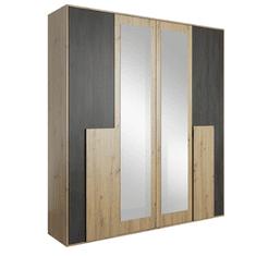 TEMPO KONDELA Skriňa so zrkadlom 4D, dub artisan/čierna borovica nórska, BAFRA