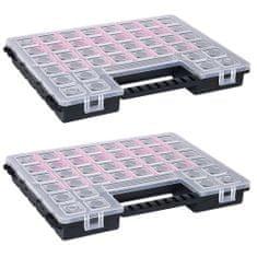 shumee Boxy na súčiastky s nastaviteľnými rozdeľovačmi 2 ks 385x283x50 mm plast