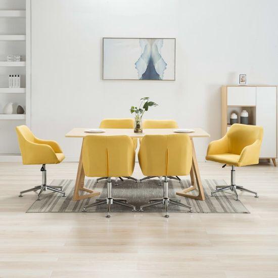 Otočné jedálenské stoličky 6 ks, žlté, látka