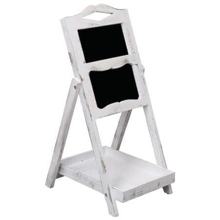 shumee Tablica kredowa na stojaku, biała, 33 x 39 x 75 cm, drewno