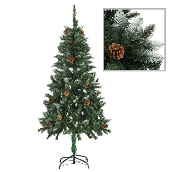 Umelý vianočný stromček s borovicovými šiškami biele vetvičky 150 cm