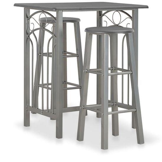 3-dielna barová súprava, drevo a oceľ, antracitová