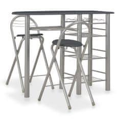 shumee 3dílný barový set s policemi dřevo a ocel černý