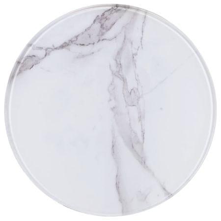 Blat stołu, biały, Ø30 cm, szkło z teksturą marmuru