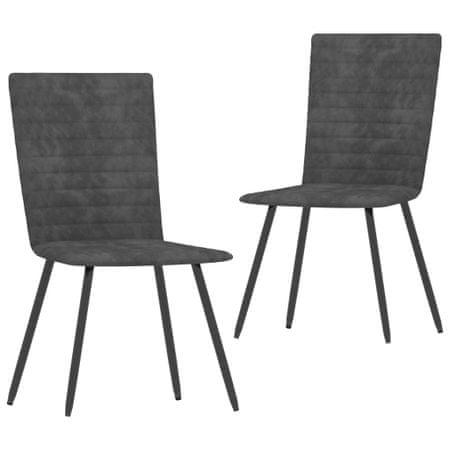 shumee Krzesła stołowe, 2 szt., szare, aksamitne