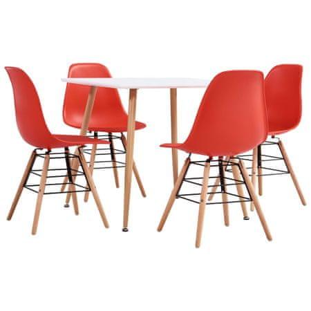 5-częściowy zestaw jadalniany, plastik, czerwony