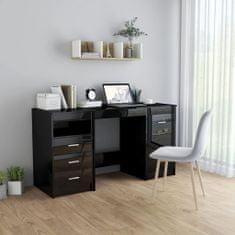 shumee Psací stůl černý s vysokým leskem 140 x 50 x 76 cm dřevotříska