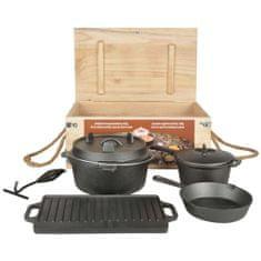 Esschert Design Sedem-dielna sada na varenie na ohni čierna FF240