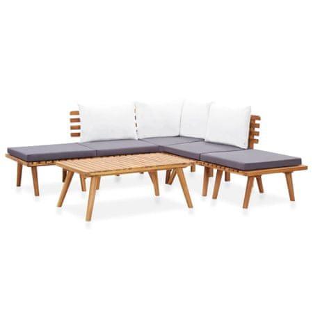 6-częściowy zestaw wypoczynkowy do ogrodu, lite drewno akacjowe